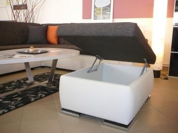 Čalouněná rohová sedací souprava s taburetem s úložným prostorem Delon